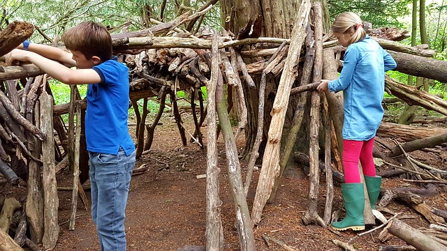 Mädchen und Junge beim Bude bauen aus Holz im Wald